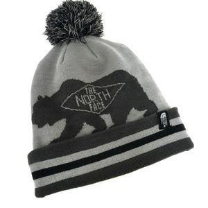 The North Face Gray Black Bear Pom Winter Hat